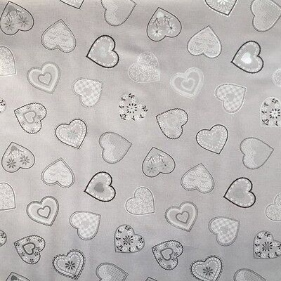 Pvc Table Cloth Love Hearts Grey White Linen Look Vintage Lace Slate Wipe Able