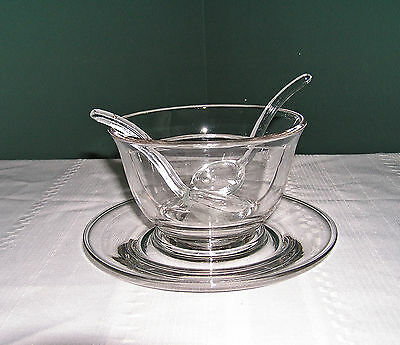 Heisey Clear Glass Divided Mayonnaise W/underplate And 2 Spoons