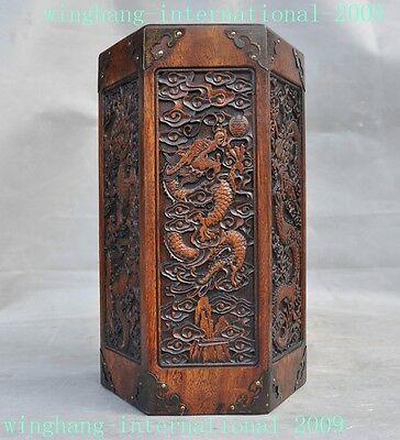 old Chinese Boxwood wood Calligraphy tools 6 Dragon statue Brush pot pencil vase
