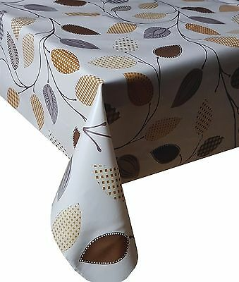 Pvc Table Cloth Funky Leaf Brown Gingham Check Polka Geo Latte Beige Wipe Able
