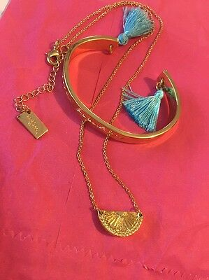 Lilly Pulitzer Breakers Bracelet& Spill The Juice Watermelon Necklace Gold Tone
