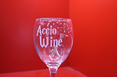 Laser Engraved Wine Glass Accio Wine Harry Potter Inspired Wand Red Rose White