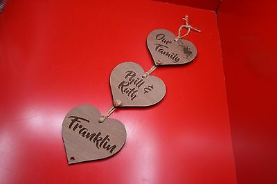 Our Family Hanging Hearts Laser Engraved And Cut Personalised Walnut