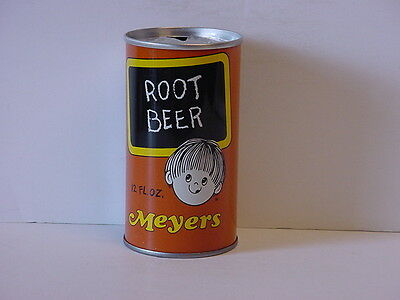 Vintage Meyers Root Beer Straight Steel Pull Tab Top Opened Soda Can Rare
