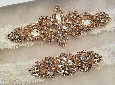 Wedding garter, Bridal Garter Set - ROSE GOLD CRYSTAL Wedding Garter Set