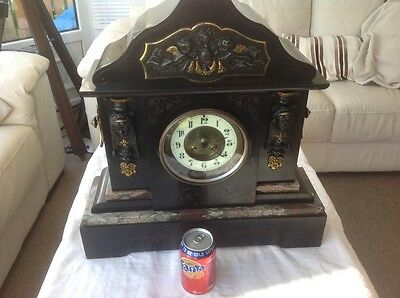 REDUCED -Superb 19th Century Marble and Slate Mantle Clock