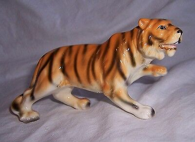 "Vintage Porcelain Ceramic TIGER big CAT Animal Figurine 3""H x 6""L   JAPAN label"