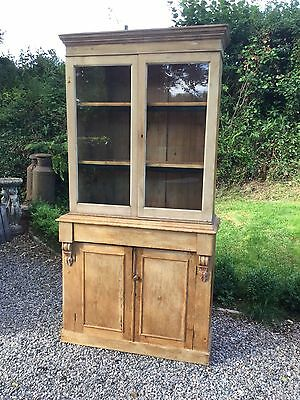 Antique Pine Glazed Dresser / Bookcase Cupboard / Display Cabinet