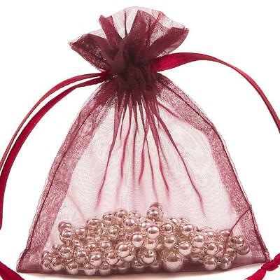 48x Premium Burgundy Organza Gift Pouch Wedding Favour Jewellery Bags 7x10cm