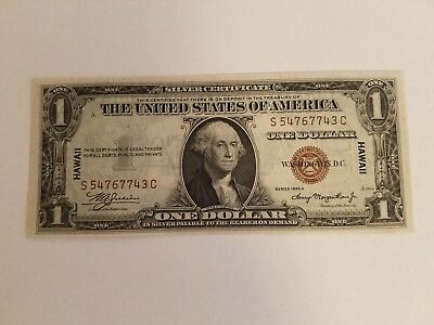 1935A $1 WWII Hawaii Emergency Note Silver Certificate Uncirculated FR2300