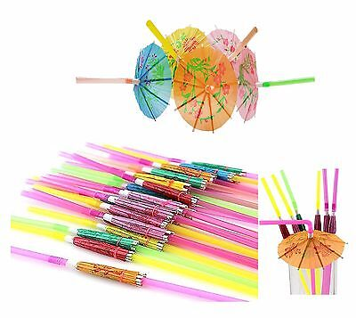 12 X Cocktail Umbrella Drinking Straw  Paper Parasol Tropical Hawaiian Birthday
