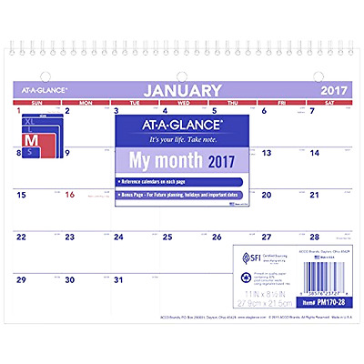 AT-A-GLANCE Wall Calendar 2017, Monthly, 11 X 8-1/2 , Unruled (PM170-28) .