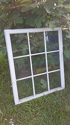 VINTAGE SASH ANTIQUE WOOD WINDOW PICTURE FRAME PINTEREST RUSTIC 9 PANE 37x32