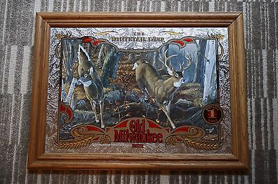 OLD MILWAUKEE BEER MIRROR SIGN #1 WILDLIFE SERIES The Whitetail Deer