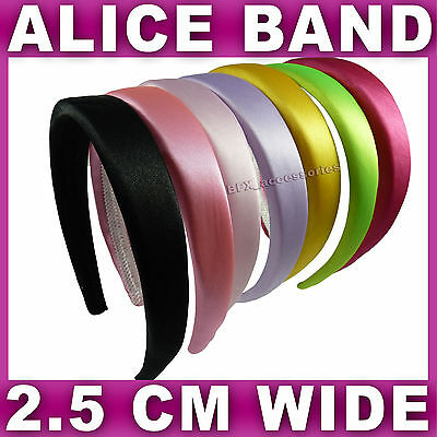 Satin ALICE BAND 2.5cm WIDE headband fabric head hair band aliceband 7 colours