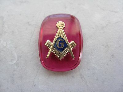 Vintage MASONIC Red Glass Piece for Jewelry Making