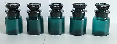 W T & CO. Antique Green Glass Apothecary Pharmacy Jars & Stoppers, Lot of 5