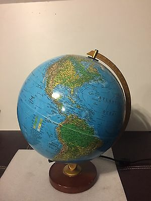 "Vintage Repogle 12"" Light Up World Horizon Globe Lamp"