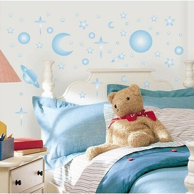 GLOW in the DARK 258 Wall Stickers Stars Planets Moon Sun Space Room Decor Decal