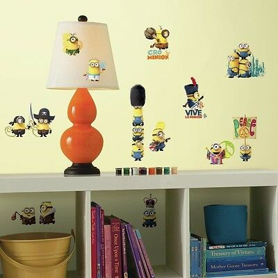 MINIONS MOVIE wall stickers 16 large decals room decor decoration ...