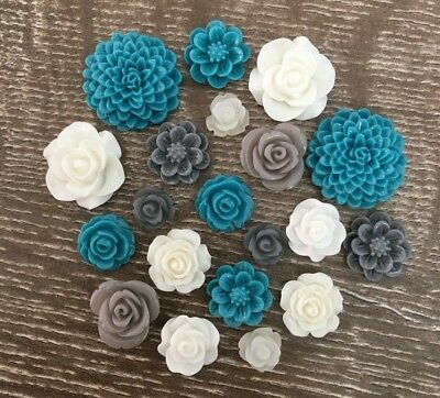 20 Teal Mint Grey White Mixed Flower Resin Cabochon Flatback Embellishments DIY