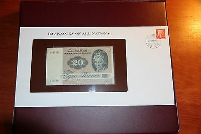 Denmark 20 Kroner 1972 P.49 Unc With Stamp Folder Banknotes Of All Nation