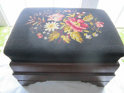 Antique needlepoint wood footstool with stunning trim. Empire style. Blue floral