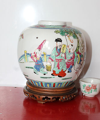 A Superb C19th Chinese Cantonese Famille Rose Enamel Ginger Jar on Stand 雍正年製