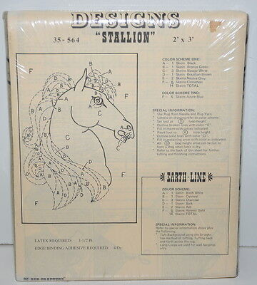 Rug Crafters Tufting Designs Stallion 2' x 3' Horse Sealed Package Burlap 35-564