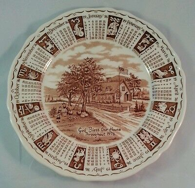 Alfred Meakin Staffordshire England Brown 1976 Calendar Plate Zodiac Collectible