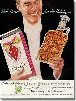 1954 Old Forester full dress xmas bottle whisky ad