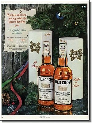 1954 Old Crow whiskey holiday Christmas tree photo ad