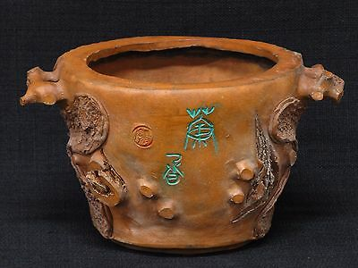 Rare Antique Vintage Chinese Yixing Clay Tree Trunk Bark Design Bonsai Pot