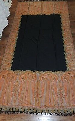 Large Victorian Wool Paisley Shawl / Black Center