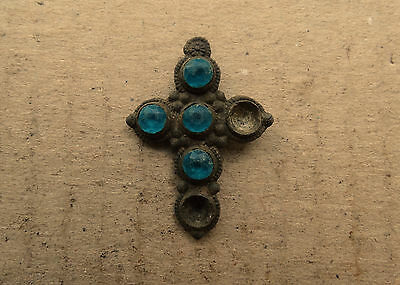 Fine Kievan Rus Cross Amulet with Glass gems 8-10 AD