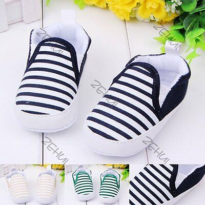 3-12M Toddler Baby Girl Boy Stripe Anti-Slip Shoes Sneakers Soft Sole Crib Shoes