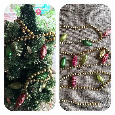 Vintage Mercury Glass Garland, 13 Colored Asian Lantern Ornaments, Gold Rd Beads