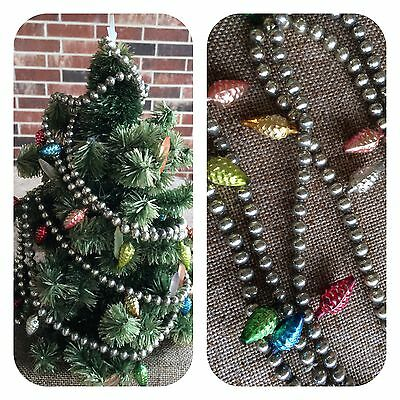 Vintage Mercury Glass Feather Tree Garland,27 Colored Pine Cone Ornaments, Beads