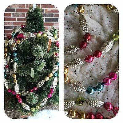 Vintage Mercury Glass Beads Feather Tree Garland,Silver Bumpy,Multi Color Round