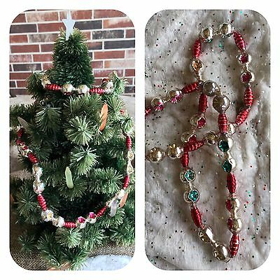 Vintage Mardi Gras Necklace, Mercury Glass Garland LG Double Indents, Red Tubes
