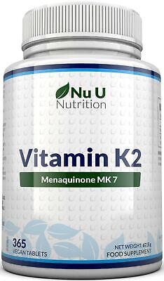 Vitamin K2 Natural Natto MK7 200mcg 365 Vegetarian and Vegan Tablets UK Made