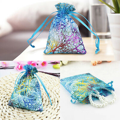 50x Sheer Coralline Organza Jewelry Pouch Wedding Party Favor Candy Gift Bags AF