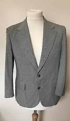 "Vintage Burberry Check Wool & Silk Blend Lightweight Jacket Blazer - 37"" Chest"