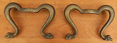 Pair of Unusual Small Antique 19th C.Decorative CAST BRASS Double Legs