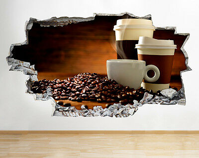 Wall Stickers Coffee Cup Mug Kitchen Café Smashed Decal 3D Art Vinyl Room G371