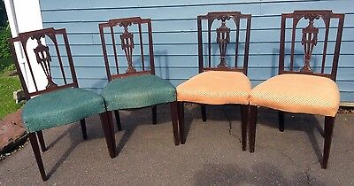 FOUR Fine Vintage Carved Mahogany Prince of Wales NY Style Federal Dining Chairs