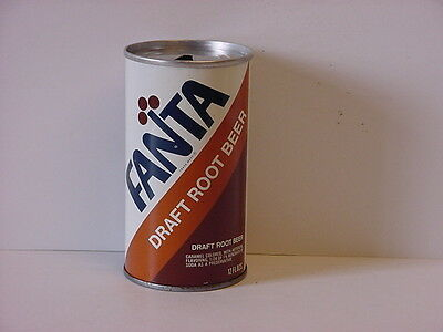 Vintage Fanta Root Beer Straight Steel Top Opened Soda Can Product of Coca-Cola