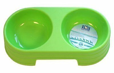 Double/twin Green Plastic Cat Dog Pet Feed Water Food Bowl Ry786