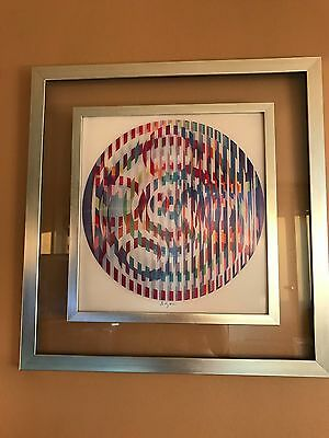 Agamograph by Yaacov Agam -  Double Framed and Signed