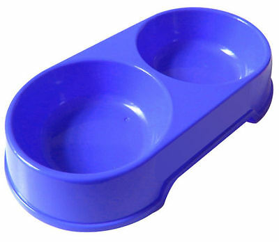 Double/twin Blue Plastic Cat Dog Pet Feed Water Food Bowl Ry786